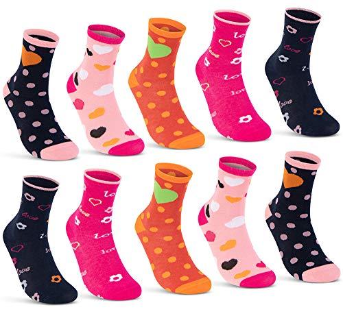 10 Paar Kinder Socken Jungen und Mädchen Baumwolle Kindersocken 54338 (35-38)