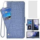Asuwish Étui portefeuille avec protection d'écran en verre trempé et porte-cartes pour OnePlus 7...