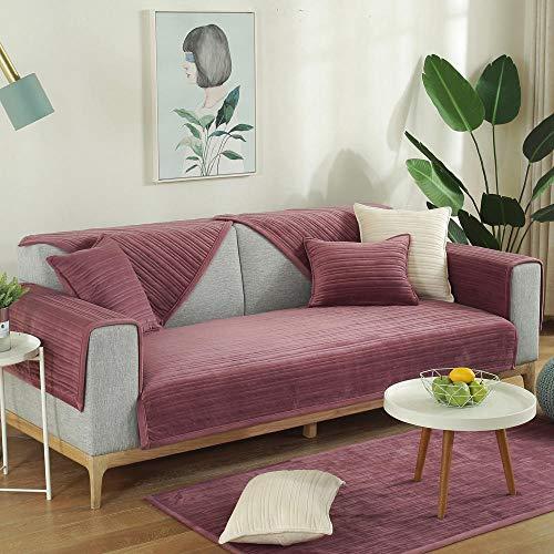 YUTJK Impermeable Funda De Sofa,Funda de Terciopelo para sofá Sillón Antideslizante Toalla Sofá Manta Sofá de Oficina Cojín de sofá Dormitorio Sofá Cojín-Púrpura_90*90cm