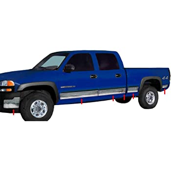 Made in USA Compatible with 2003-2006 GMC Sierra Crew Cab Insert Body Side Molding 3.5 Wide 4PC Overlay