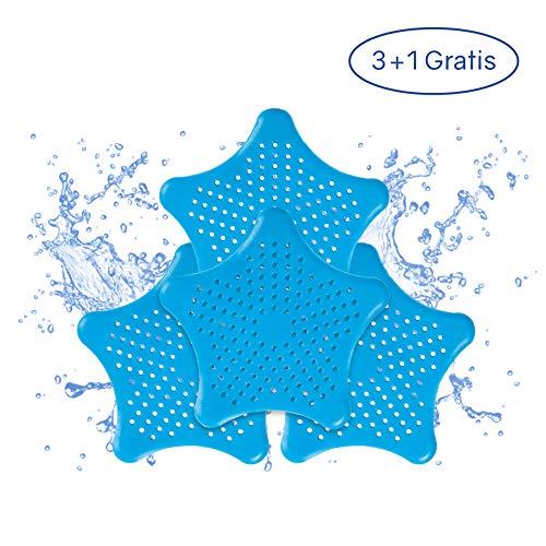 PaWa Abflusssieb – 3 + 1 Gratis – Duschstern aus Silikon – Haarsieb für Bad und Küche (Blau)