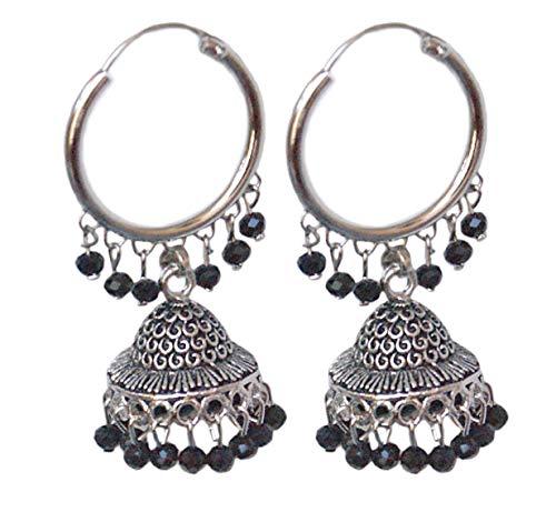 Pahal - Pendientes de aro con perlas de cristal negro y plata india, diseño de Jhumki Bollywood