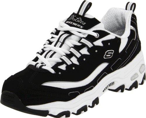 Skechers Sport Women's D'Lites Lace-Up Sneaker, Black/White, 7 W US
