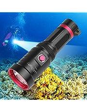 Duikzaklamp, superheldere duiklamp met 10.000 lumen, 3 modi, 150 meter onderwater, IPX8 waterdicht, onderzeeërlicht met 18650 accu en USB-oplader