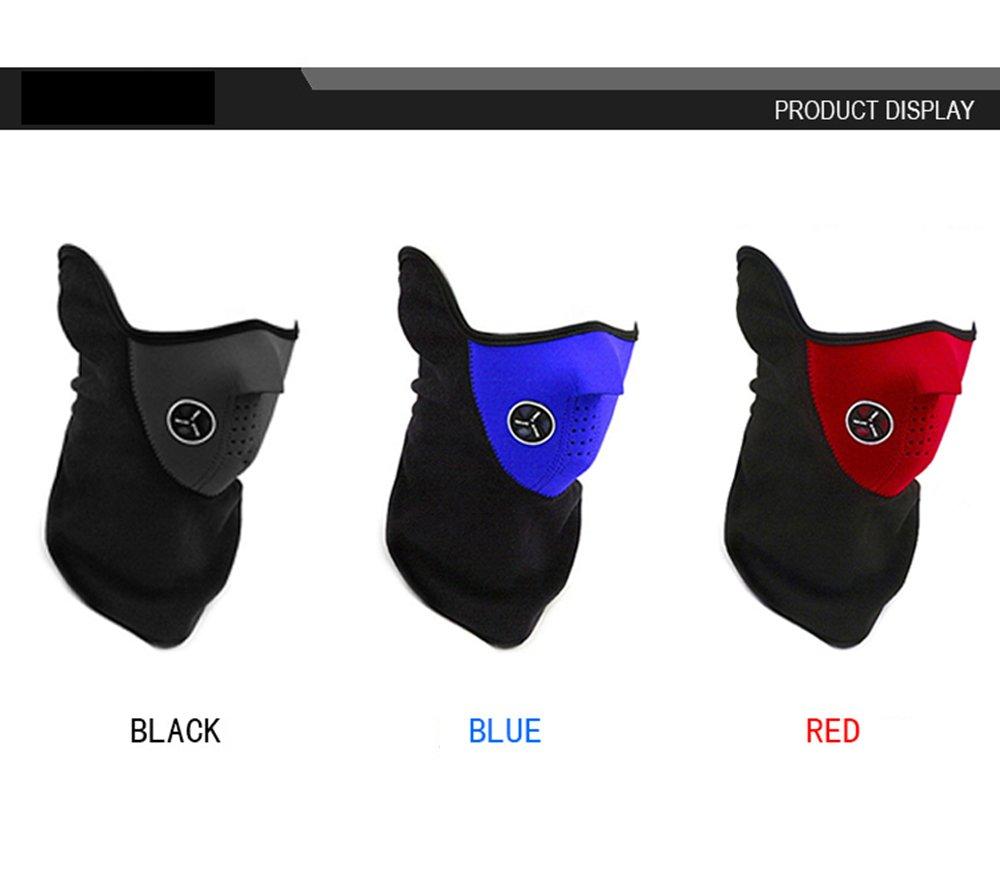 Ciclismo 3pcs unisex cortavientos media cara m/áscara invierno c/álido cuello con orificios de ventilaci/ón para deportes al aire libre Esqu/í rojo + azul + negro Running Motocicleta escalada