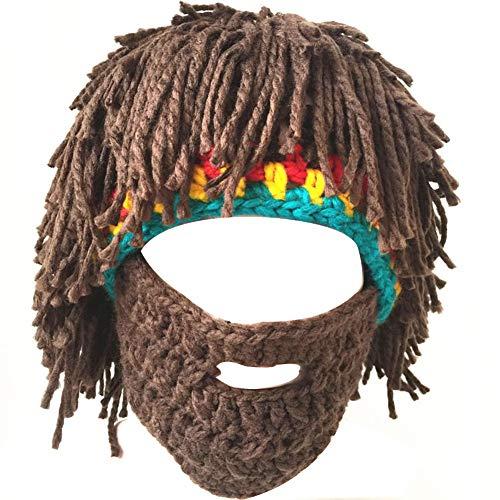 Lazzon Beard Head Bartmütze Damen Herren Wikinger Piraten Cosplay Lustige Vollbart Maske für Karneval Halloween Party