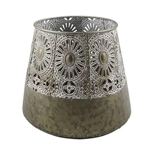 PARTS4LIVING Laterne mit Ornamenten aus Metall Windlicht im orientalischen Stil Kerzenhalter Kerzenständer Shabby Chic Creme grau 22x22x19,5 cm