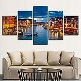 UYEDSR 5 Impresiones de Impresiones de imágenes Paneles de Arte Venecia Agua Ciudad Barco Luces Paisaje Pared decoración del decoración de hogar