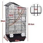 Yaheetech Cage à Oiseaux 46 x 35,5 x 99 cm avec 3 Jouets Poignée Portable 4 Mangeoires 3 Perchoirs Cage pour Perruche Calopsitte Conure Pinson Canaris #1