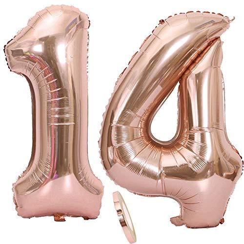 """2 Globos Número 14, Number 14 Globo Chica de oro rosa, 40 """"Globos inflables de helio, Globo rosa de oro, Figuras, Globo gigante para la decoración de la fiesta de cumpleaños, Fiesta (xxxl 100 cm)"""