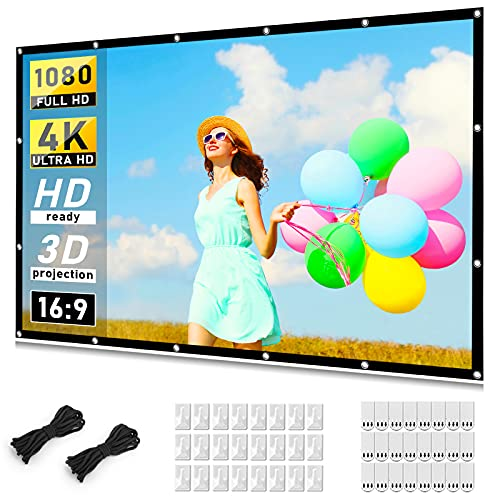 Projector Screen 120 inch, Taotique 4K Movie Projector Screen 16:9 HD Foldable and Portable...