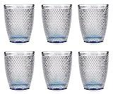 TIENDA EURASIA Vasos de Cristal de Diseño Relieve - Pack 6 Vasos de Agua de Cristal Puntos - Capacidad 30cl - Medidas 8 x 8 x 10 cm - Ideal para Agua, Refrescos, Whiskey (Azul)