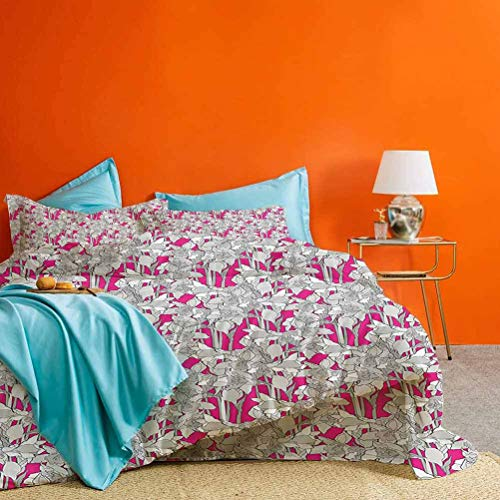 prunushome Floral Three-Piece Bed Duvet Cover Grungy Curved Flower Ornaments with Retro Petals Leaves Daffodil Design Best Material/Highly Durable Grey and Fuchsia Queen Size (No Quilts and Inserts)
