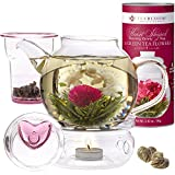 Teabloom Flowering Tea & Teapot Gift Set - 36 oz Glass Teapot, Heart-Topped Lid, Tea Warmer, Glass...