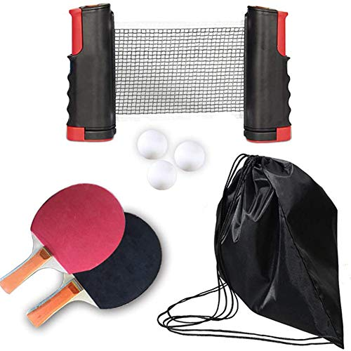 Great Features Of Table Tennis Racket Set Professional with Retractable Table Tennis net 4 Ping Pong...