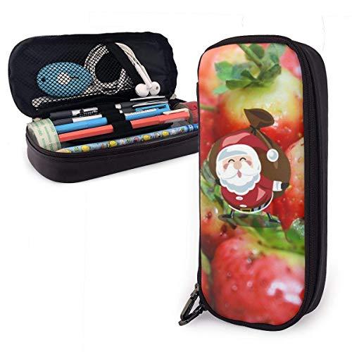 Estuche para lápices de cuero PU con vitaminas y fresas rojas, organizadores de papelería duraderos para estudiantes para la oficina de la escuela 1.5inx3.5x8 in
