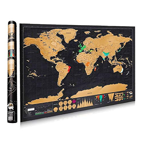 CEINTER Mapa mundial de escombros Mapamundi de cobre y estaño Mapa mundial de arañazos Mapamundi del mapamundi Cartel Regalo perfecto para viajeros (Negro   82x 60cm)