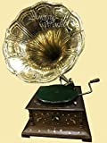 Antiques World Antique Brass Horn Beautifully Handcrafted Vintage Phonograph Hmv Collectible Antique Musical Box Turntable Wooden Gramophone AWUSAHB 0155