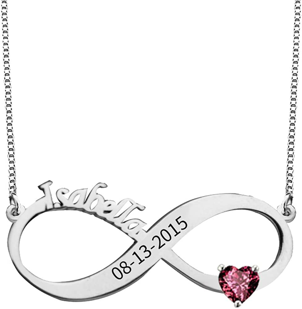 Ouslier 925 Sterling Silver Personalized Birthstone Double Heart Pendant Name Necklace with Custom Name