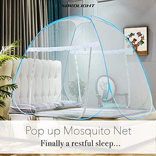 Moskitonetz Doppelbett und Einzelbett XXL - 2 m x 1,8 m x 1,5 m (weiß, pop up) Faltbares Engmaschiges Mückennetz für Reise und Zuhause mit Tasche, zuverlässiger Insektenschutz