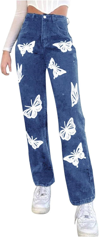 Aiouios Jeans for Women Fashion Butterfly Print High Waisted Baggy Boyfriend Straight Denim Pants Stretch Wide Leg Jeans