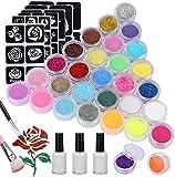 Natale Emooqi Kit Tattoo Temporanei,24 Colori Glitter Tattoo per il Corpo - 24 Colori Dive...