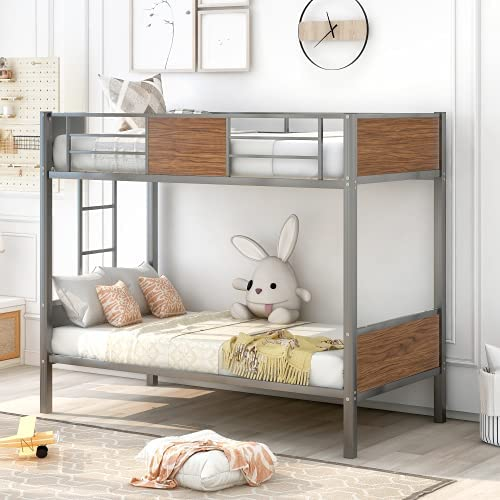 INLIFE Twin-Over-Twin bunk Bed Special price for a 2021 limited time Modern Steel Frame Style