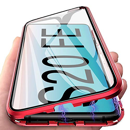Handyhülle für Samsung Galaxy S20 FE Hülle Magnetic Adsorption, E-Lush Schutzhülle 360 Grad Komplett Schutz Hülle 2 in 1 Metall Bumper mit Gehärtetes Glas Ultra Dünn Transparent Hülle Cover, Rot