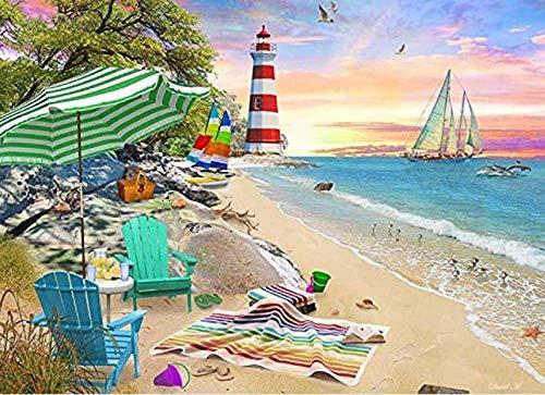 OUCUCK Divertenti Puzzle per Adulti, Giochi, Vermont Christmas Company Seaside Beach, Foto di paesaggi Naturali, Puzzle da 1000 Pezzi 75 x 50 cm (30x20 Pollici)