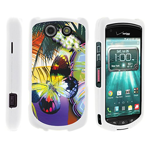 TurtleArmor | Compatible with Kyocera Brigadier Case | E6782 [Slim Duo] Hard Shell Snap On Case Compact Cover Matte Sea Ocean on White - Tropical Butterfly