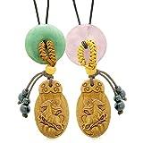 Fortune Horse Car Charm or Home Decor Green Quartz Rose Quartz Donuts Love Couples or Best Friend Amulets