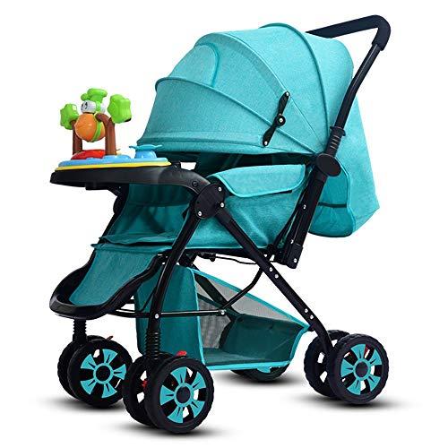 IF.HLMF - Cochecito de bebé plegable para sentarse en 4 ruedas, color azul