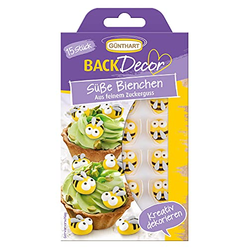 BackDecor 15 süße Bienchen | Zuckerfiguren | Zucker-Bienchen | gelb | schwarz | weiß