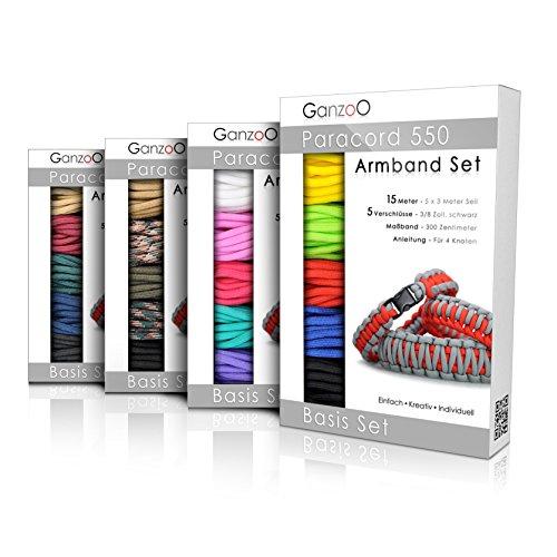 Ganzoo Paracord 550 Armband Set selbst knüpfen, Knüpf-Anleitung, DIY Bracelet, Geschenk