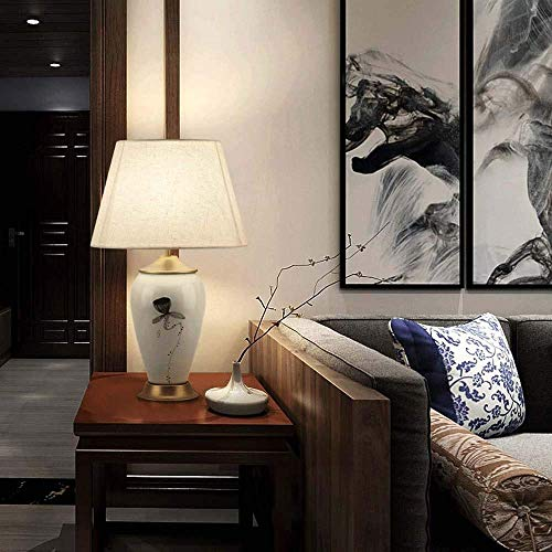 YANQING Duurzame Nieuwe Chinese Stijl Keramische Tafellamp Slaapkamer Nachtlampje Inkt Schilderen Lotus Decoratie Tafellamp Stof Chinese Stijl Kamer Lamp 35 * 60cm Verlichting Leven