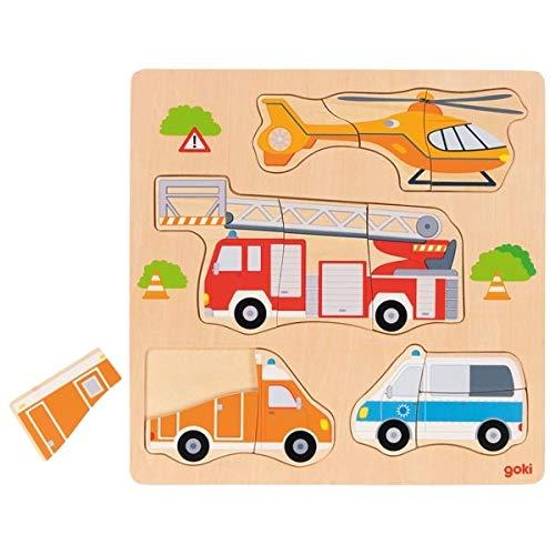 Goki 57438 Vehículos rescate, Encaje de Madera Spielzeug zum Stapeln und Einrasten, Mehrfarbig (Mehrfarbig)