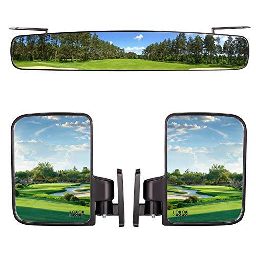 """10L0L 3 Piece Golf Cart View Mirrors Set, 16.5"""" Wide Rear View Mirrors and 2 Side View Mirrors for Cub Car Ezgo Yamaha,Golf Cart Accessories"""