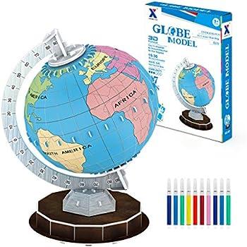 47-Pieces Beaure 3D Globe Coloring Puzzles