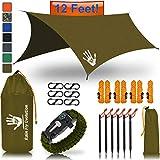 Rain Fly EVOLUTION 12 x 10 ft Camping Hammock RAIN Fly Waterproof Tent TARP & Survival Bracelet –...