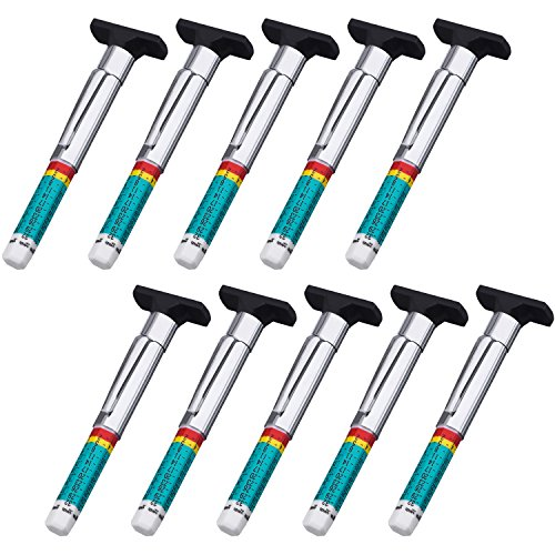 Pangda 10 Pack Tyre Gauge Tyre Tread Depth Gauge Tool, Color Coded