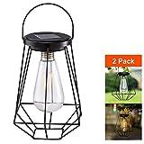 Outdoor Solar Lanterns Lamps - 2 Pack Tabletop Filament LED Edison Bulbs Hanging Solar Powered Garden...