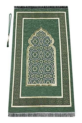Muslimischer Gebetsteppich mit Gebetskette | Janamaz | Sajadah | Weiche islamischen Gebetsteppich | Islamische Geschenke | Gebet Teppich Matte, Chenillegewebe, Grün