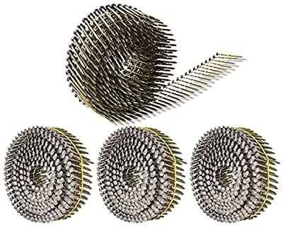 Siding Nails 1-1/2-Inch x .092-Inch 15-Degree Collated Wire Coil, Full RoundHead, Ring Shank Hot-Dipped Galvanized 1200 Count for Rough Nailing of Lathing and Sheathing Materials by BOOTOP by BOOTOP