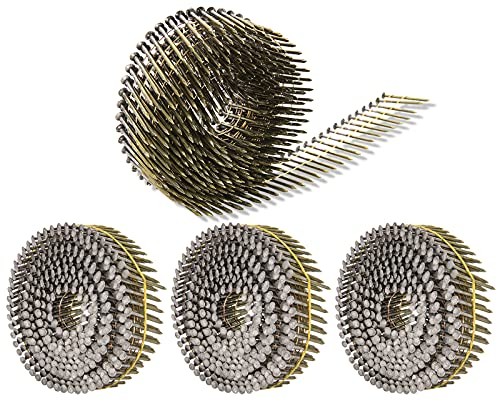 Siding Nails 1-1/2-Inch x .092-Inch 15-Degree Collated Wire Coil, Full RoundHead, Ring Shank Hot-Dipped Galvanized 1200 Count for Rough Nailing of Lathing and Sheathing Materials by BOOTOP