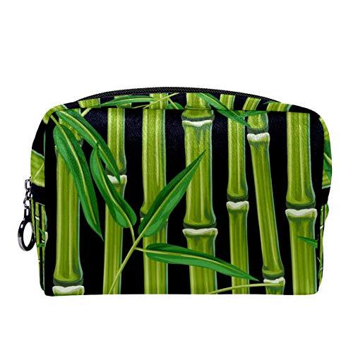 Bolsa de cosméticos Bolsa de Maquillaje para Mujer para Viajar para Llevar cosméticos, Cambio, Llaves, etc. Patrón sin Costuras con Plantas y Hojas de bambú