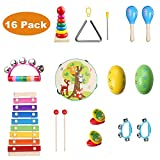 Childom Kids Musical Instruments, 16 Pcs Wooden Percussion Instruments for Kids Preschool Educational