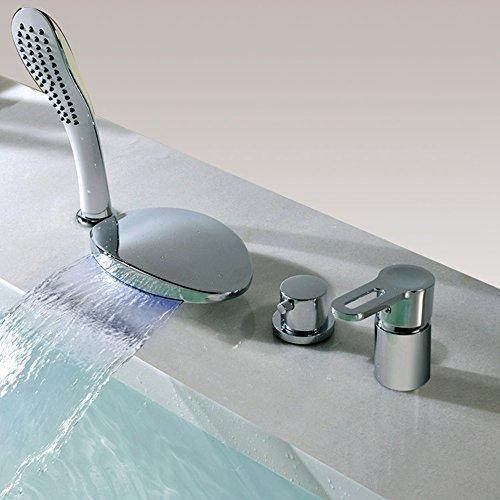 BFTAPS Badarmatur mit LED Licht Wannenrandarmatur 4-Loch-Badewanne Wasserhahn mit Handbrause Chrom Wasserfall Einhebel Badewannenarmatur,ChromeFaucet