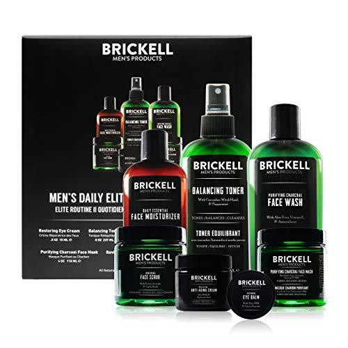 Brickell Men's Products tägliche elite gesichtspflege routine ii, toner, kohlegesichtswäsche, anti-aging nachtcreme, augencreme, kohle maske und feuchtigkeitspflege, natur- und bio, duftend