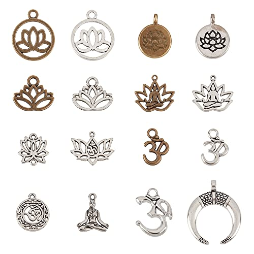 NBEADS 80 colgantes tibetanos de yoga de 16 estilos, dijes de aleación de metal, dijes espaciadores de plata antigua y bronce para pendientes, pulseras, colgantes, joyas, manualidades