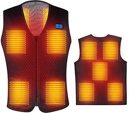 ZYKBB Chaleco calentado para hombre Abrigo de Parka al aire libre USB Chaquetas con capucha de calefacción de batería eléctrica con chaqueta térmica de invierno caliente (Color : Black, Size : S)